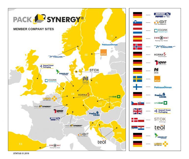 PackSynergy Standortkarte - Firmenstandorte (Stand: 05.02.2019)
